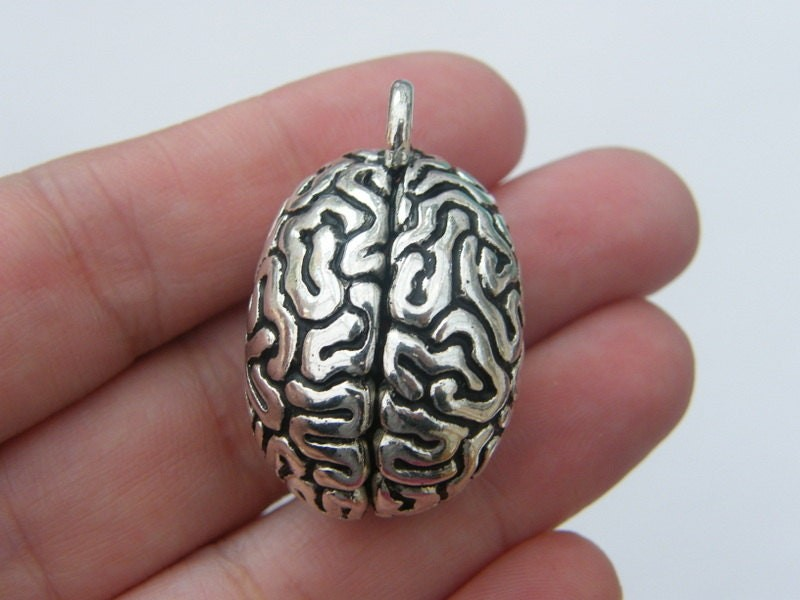1 Brain pendant antique silver tone MD52
