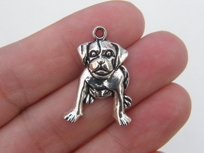 6 Dog charms antique silver tone A984