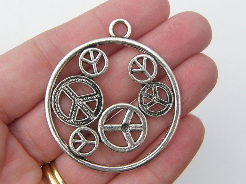 2 Peace sign pendants antique silver tone P5