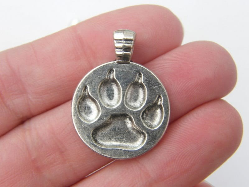 3 Paw  print pendants antique silver tone A464
