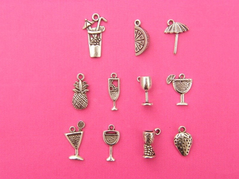The Cocktail Collection - 11 different antique silver tone charms