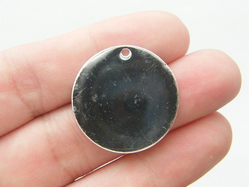 20 Stamping tags  25mm round blank silver plated TAG3