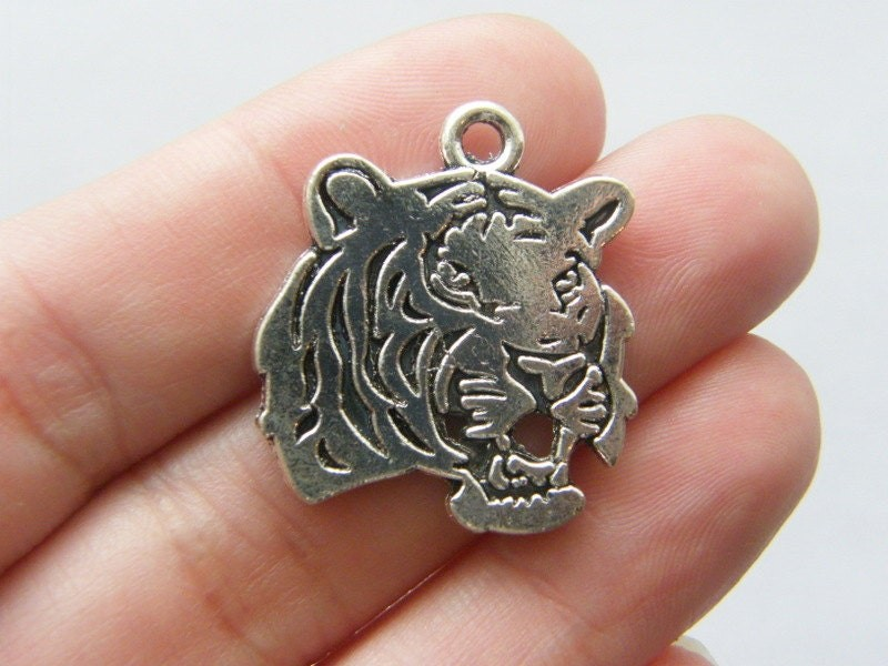 BULK 20 Tiger charms antique silver tone A150
