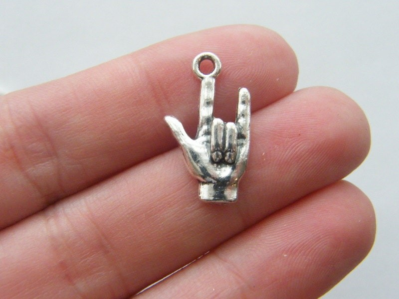 8 Hand I love you symbol charms antique silver tone M244