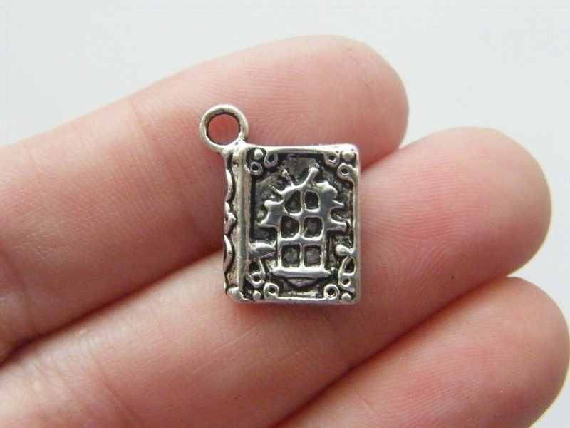 BULK 50 Spell book charms antique silver tone PT28
