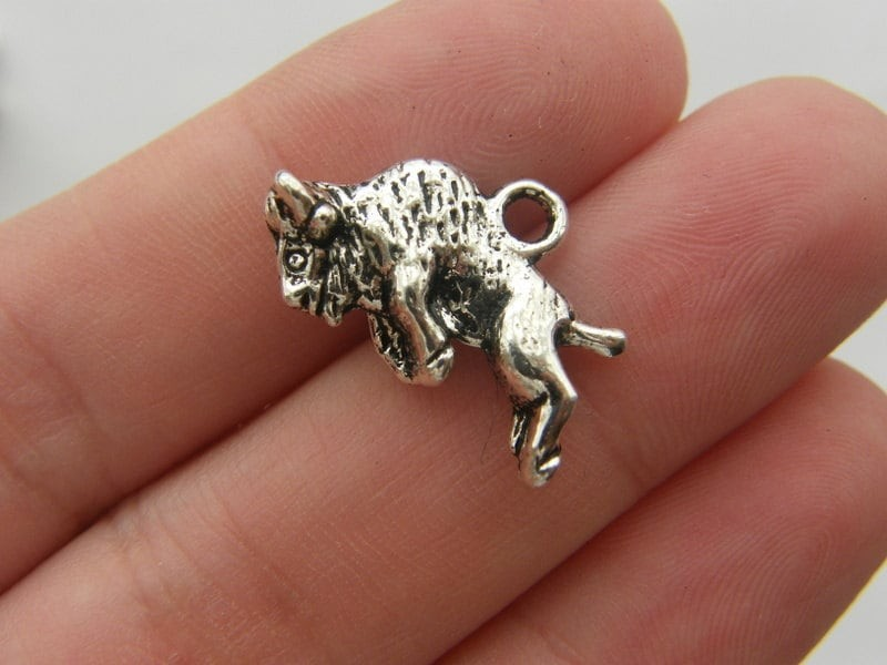 BULK 30 Buffalo charms antique silver tone A138