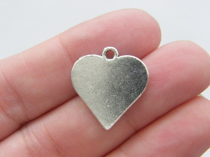 6 Heart card suit charms antique silver tone P270