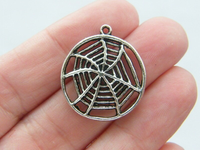 4 Spiderweb pendants antique silver tone HC135