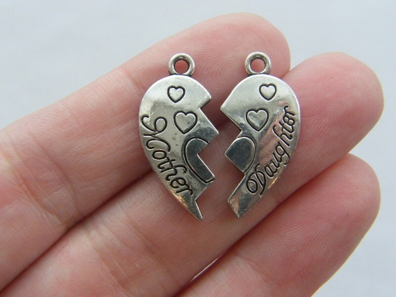 2 Mother Daughter charms antique silver tone M211