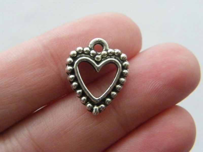 10 Heart charms antique silver tone H87