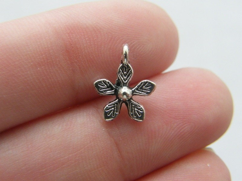 BULK 50 Flower charms antique silver tone F61 - SALE 50% OFF