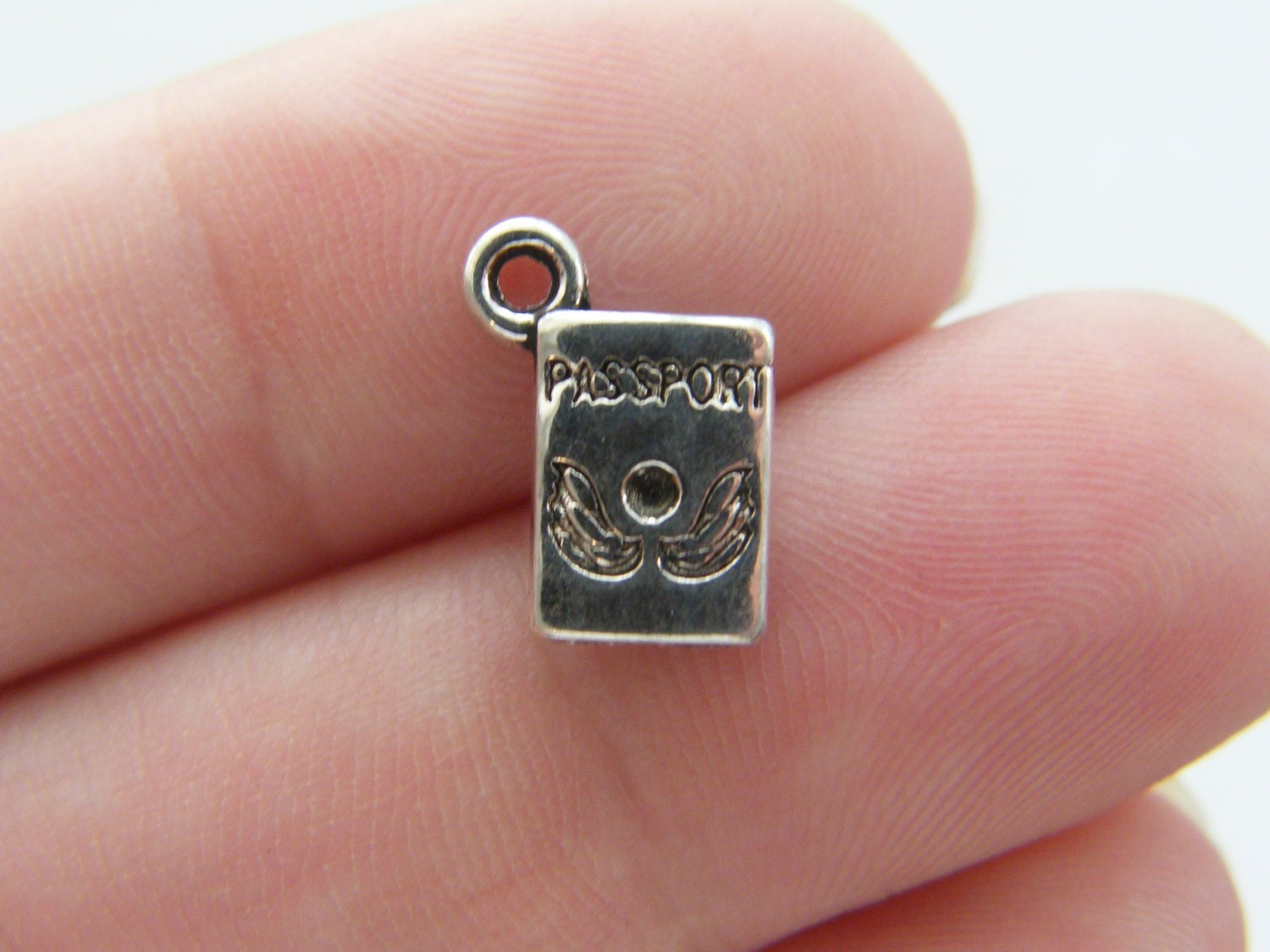 14 Passport charms antique silver tone WT56