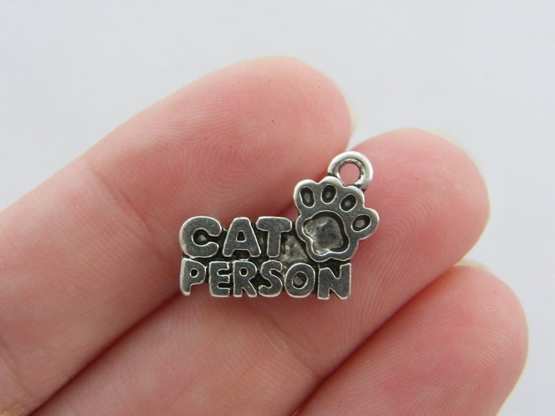 8 Cat person charms antique silver tone A875