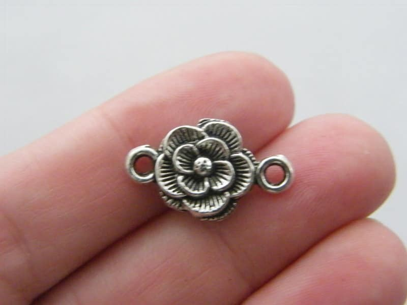 BULK 50 Rose flower connector charms antique silver tone F81