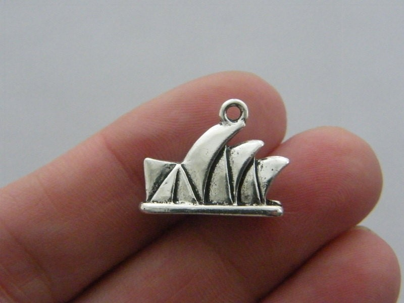 4 Sydney opera house charms ntique silver tone WT115