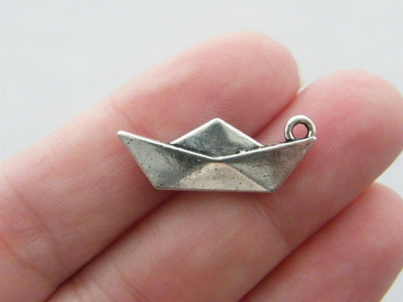 10 Paper origami boat charms antique silver tone PT42