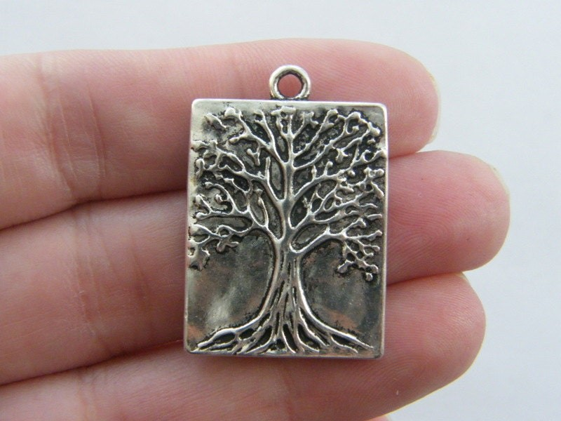 4 Tree pendants antique silver tone T47