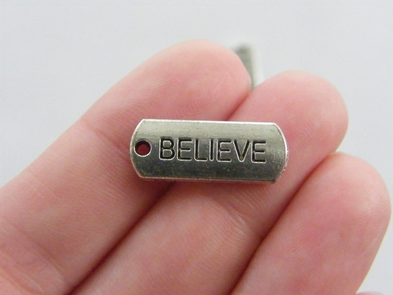 BULK 30 Believe charms antique silver tone M47 - SALE 50% OFF