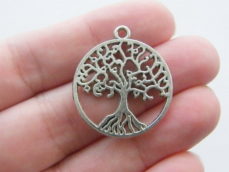 4 Tree pendants antique silver tone T50