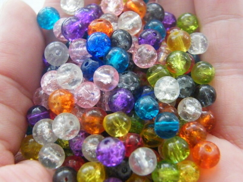 200 Mixed crackle 6mm glass beads B145