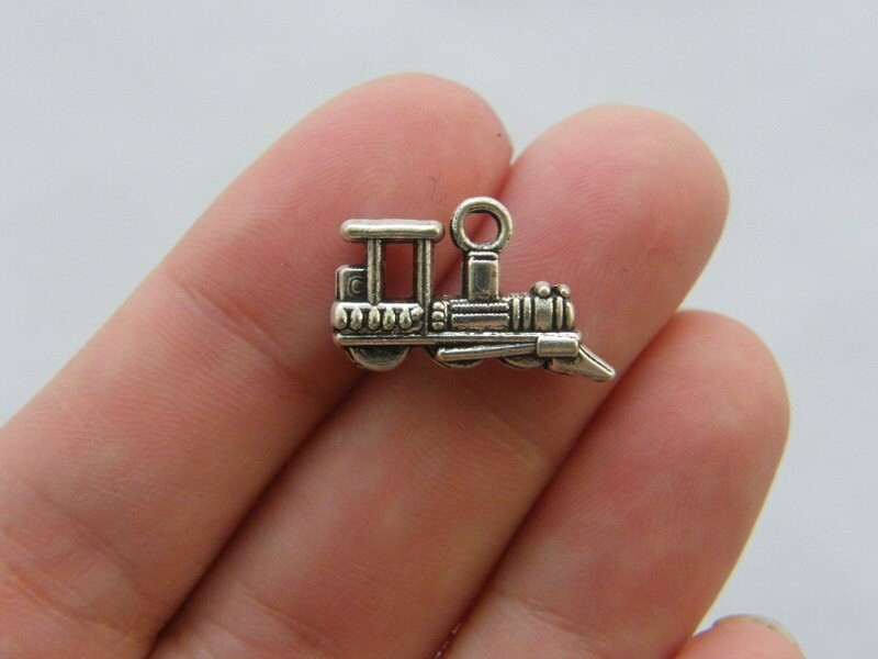 BULK 30 Train charms tibetan silver TT8