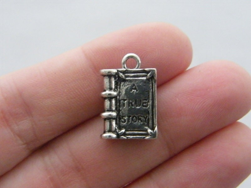 4 A true story book pendants antique silver tone PT2