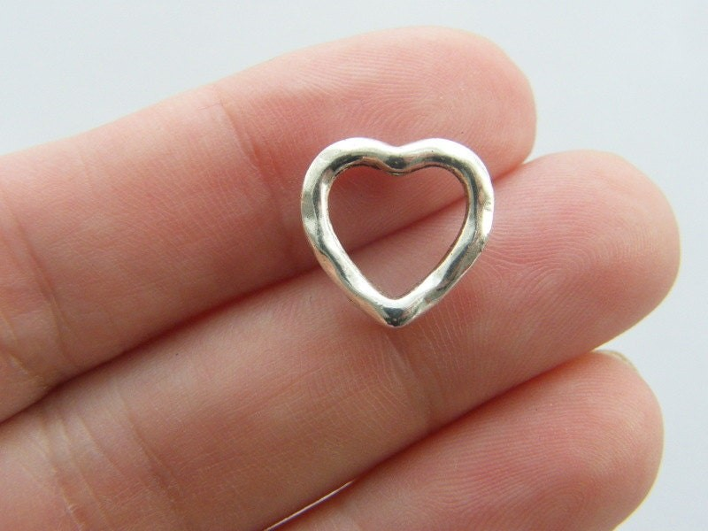 12 Heart spacer beads antique silver tone H49