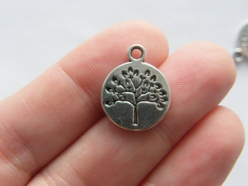 6 Tree pendants antique silver tone T36