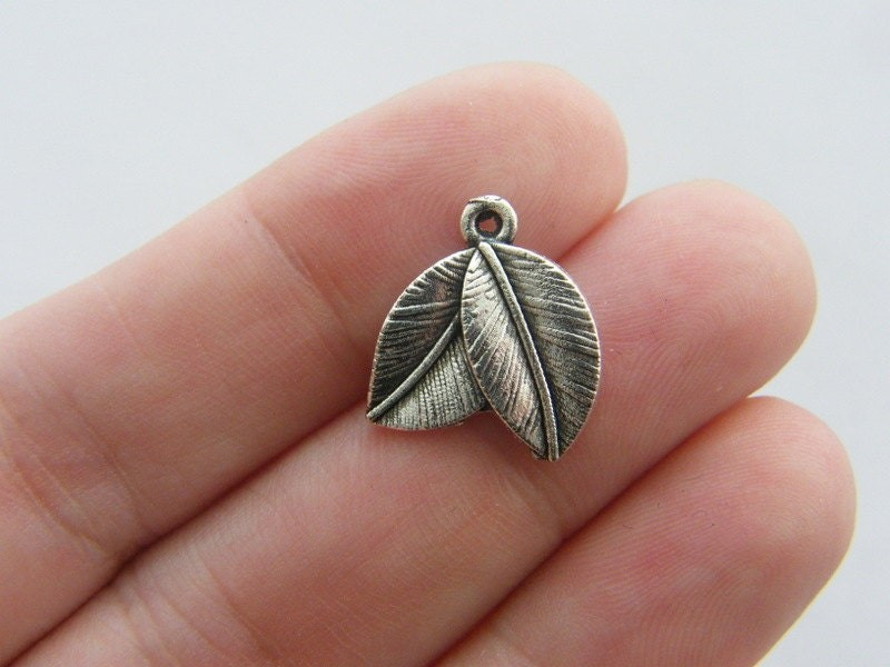 BULK 50 Leaves charms antique silver tone L30