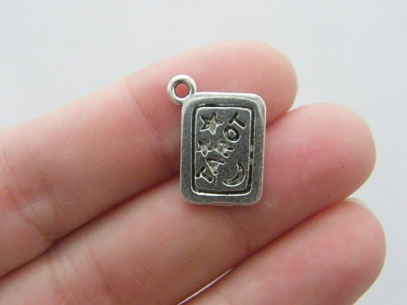 6 Tarot card charms  antique silver tone PT17
