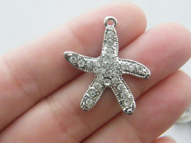 2 Starfish charms antique silver tone FF248
