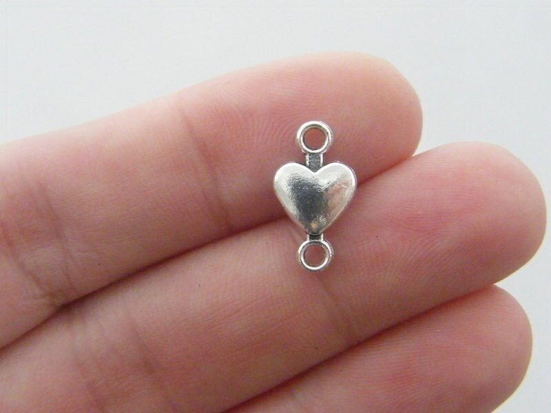BULK 50 Heart connector charms antique silver tone H70 - SALE 50% OFF