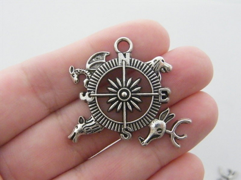 2 Compass charms antique silver tone P113