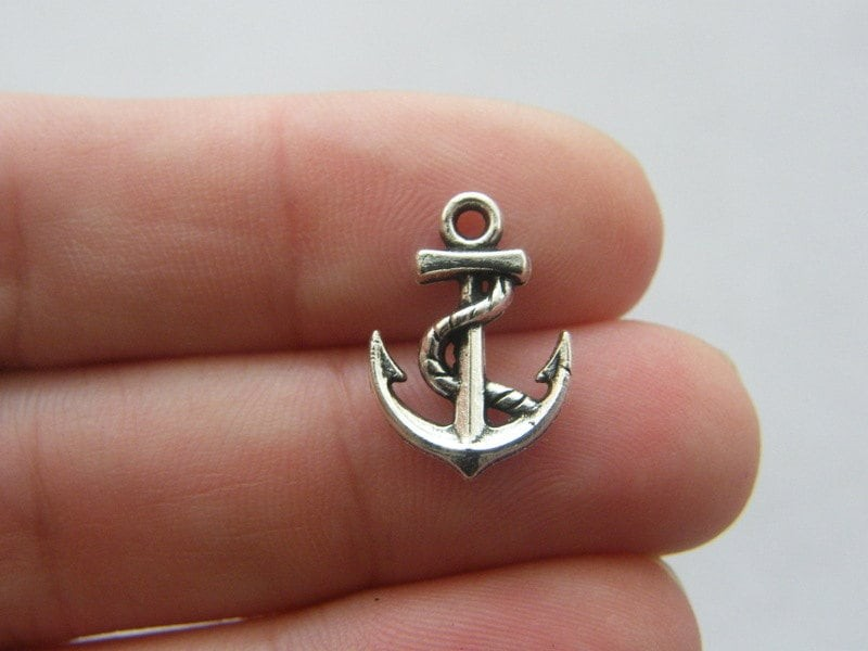 12 Anchor charms antique silver tone SC207