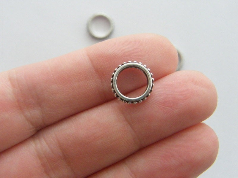 14 Spacer ring  beads antique silver tone FS267