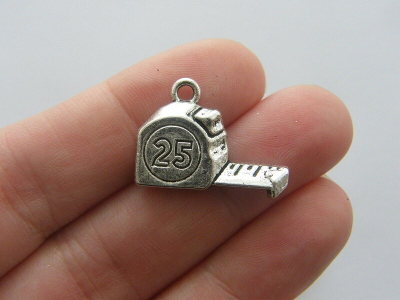 6 Tape measure charms antique silver tone P559