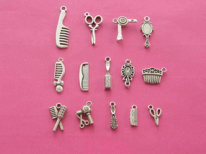 The Hairdresser Collection - 14 different antique silver tone charms