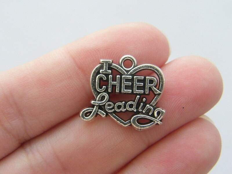 8 I love cheer leading  charms antique silver tone SP84