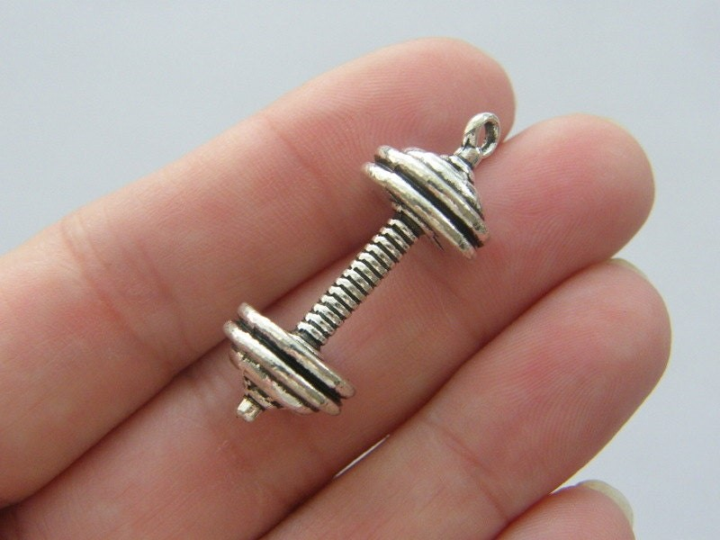 4 Barbell charms antique silver tone SP31