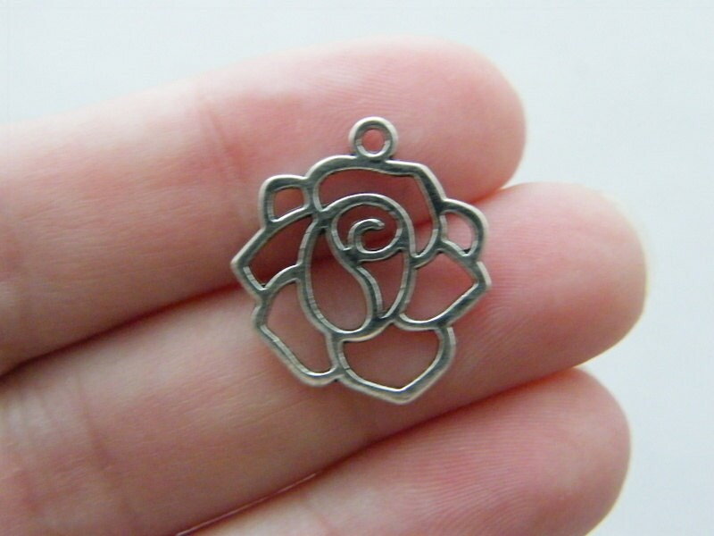 BULK 50 Rose flower charms antique silver tone F125