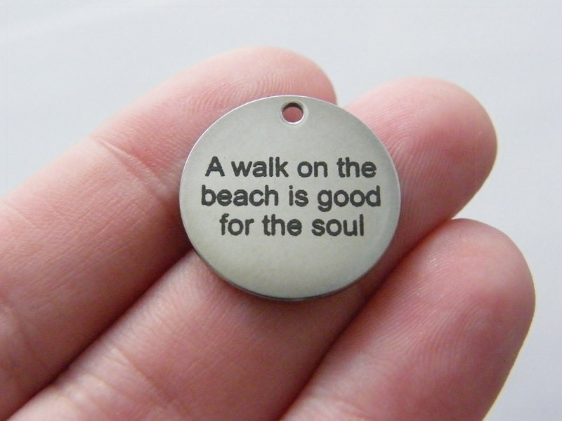1 A walk on the beach is good for the soul tag charm 20 x 1mm  stainless steel TAG9-1