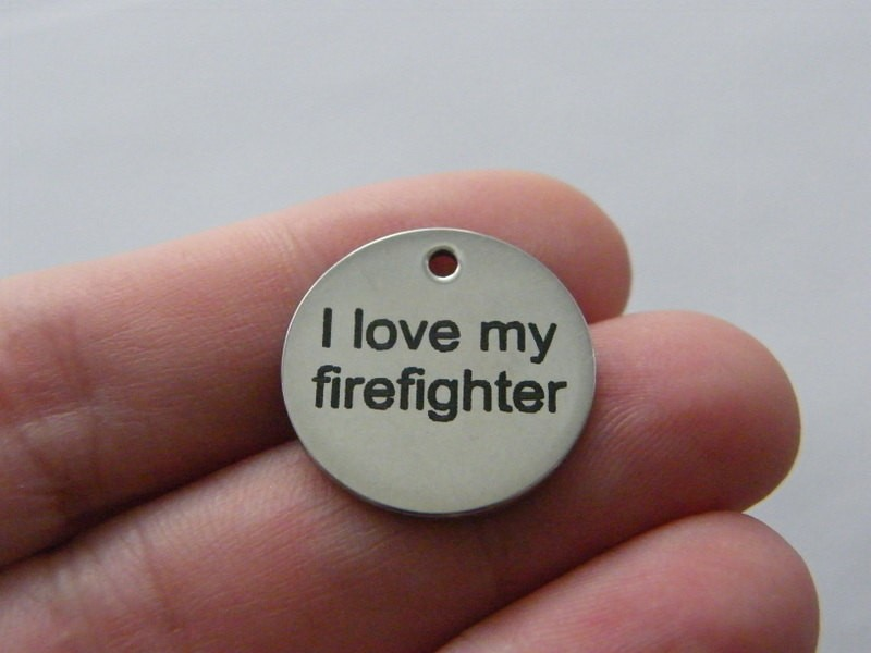 1 I love my firefighter tag charm 20 x 1mm  stainless steel TAG9-1