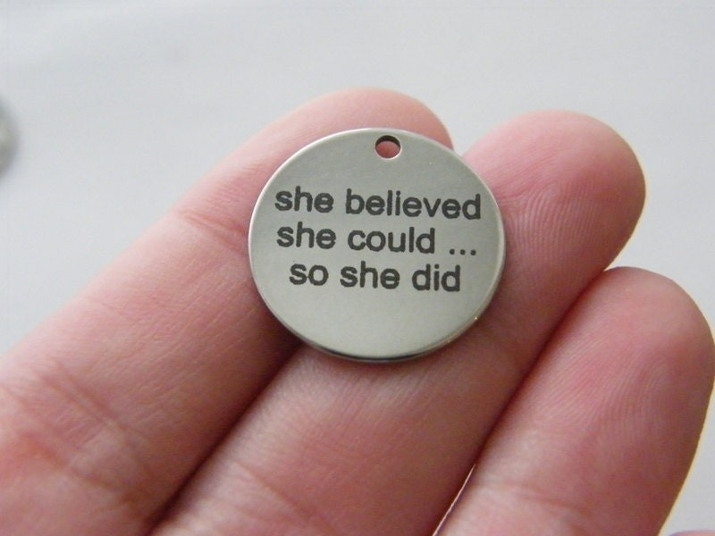 1 she believed she could... so she did tag charm 20 x 1mm  stainless steel TAG9-1