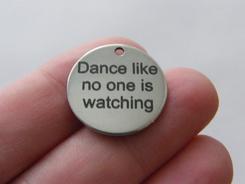 1 Dance like no one is watching tag charm 20mm  stainless steel TAG9-1