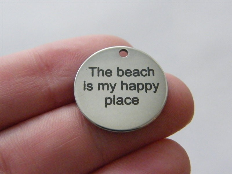 1 The beach is my happy place tag charm 20 x 1mm stainless steel TAG9-1