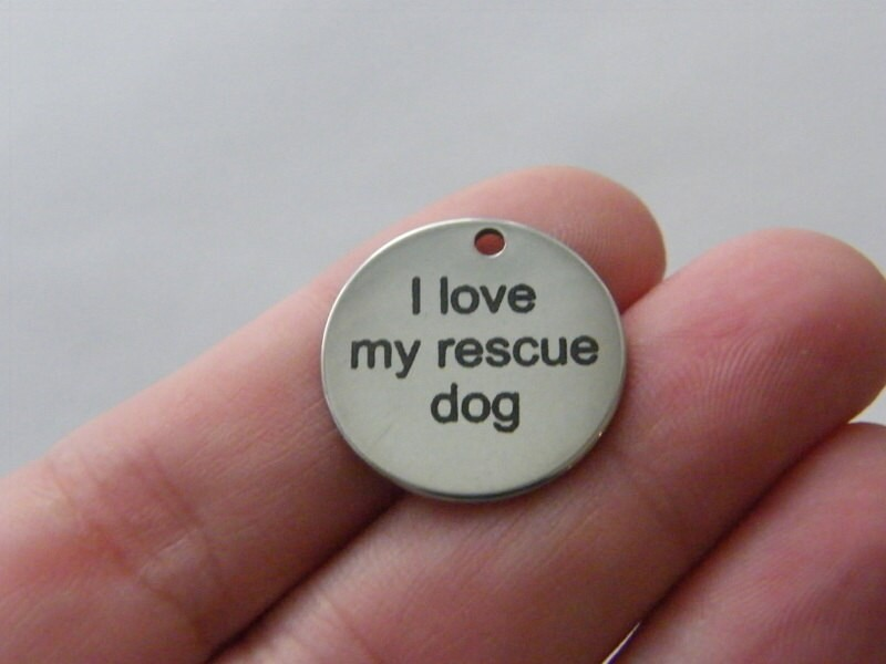 1 I love my rescue dog tag charm 20 x 1mm stainless steel TAG9-1