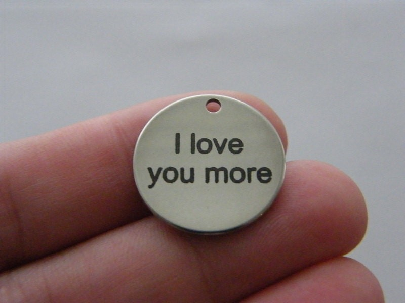 1 I love you more tag charm 20mm  stainless steel TAG9-1