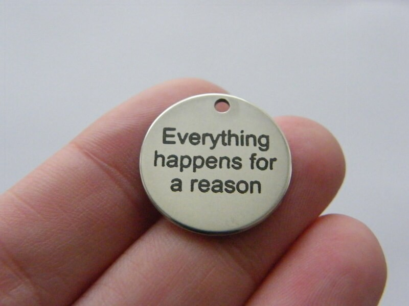 1 Everything happens for a reason charm 20mm  stainless steel TAG9-1