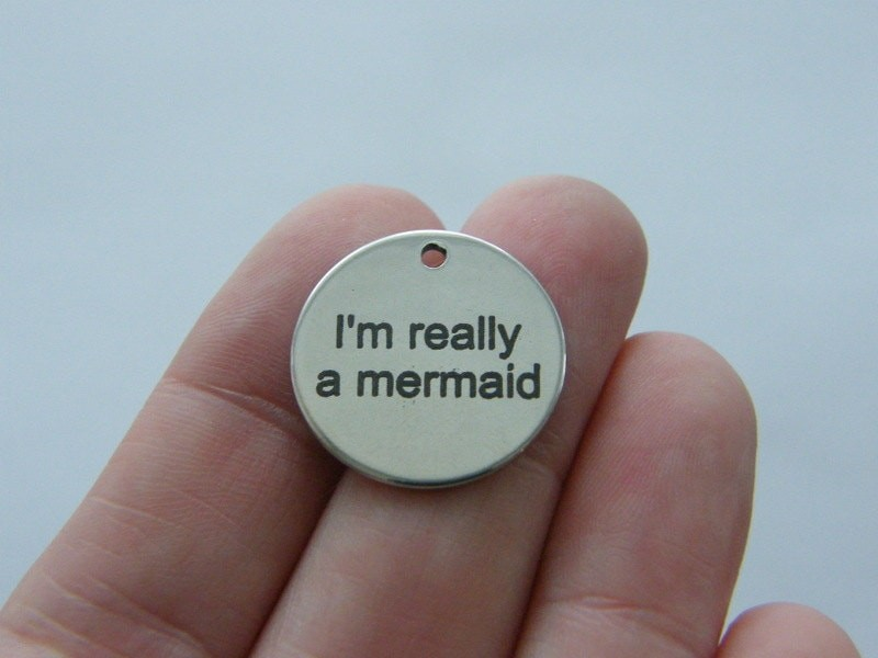 BULK 10 I'm really a mermaid charm 20mm  stainless steel TAG9-2