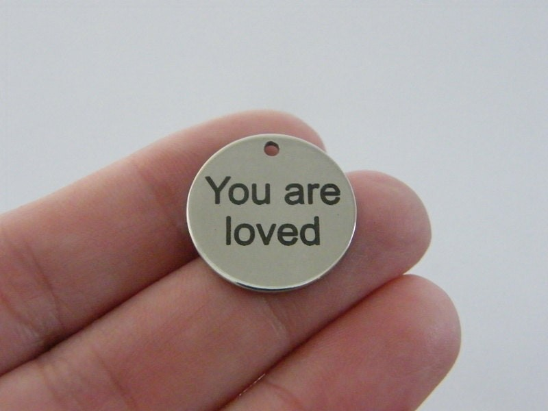 1 You are loved charm 20mm  stainless steel TAG9-2